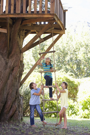 cooperating: Group Of Children Climbing Rope Ladder To Treehouse