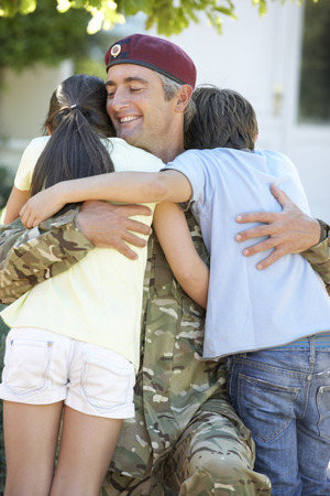 10 year old: Soldier Returning Home And Greeted By Children