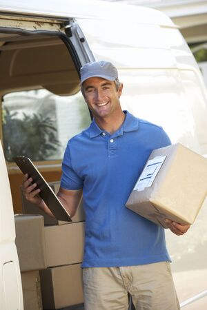 courier: Courier Delivering Package By Van
