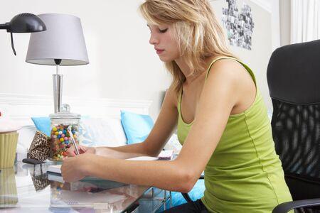 teenage girl: Teenage Girl Writing In Diary