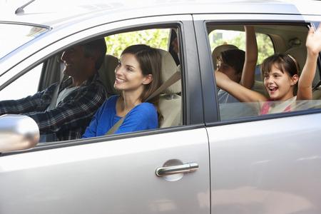 Familie instellen Uit Aan Car Journey