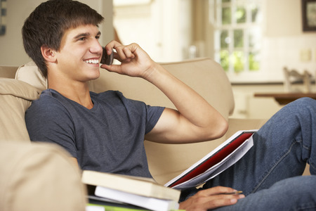 boy sitting: Teenage Boy Sitting On Sofa At Home Doing Homework Using Mobile Phone Stock Photo
