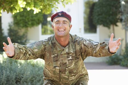 homecoming: Soldier Returning Home Extending Arms In Greeting