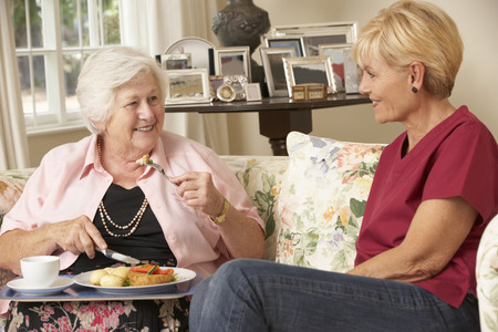 Helper Serving Senior Woman With Meal In Care Home Stock Photo - 42164497