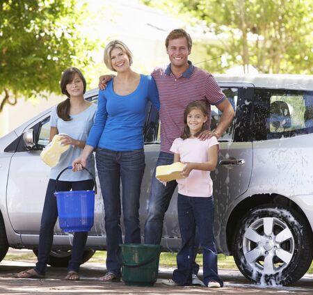 washing car: Family Washing Car Together Stock Photo