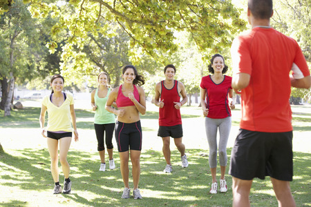 mixed races: Instructor Running Fitness Boot Camp