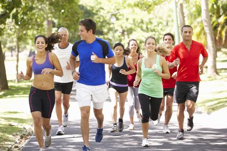 Grupo de los corredores de jogging a través de parque