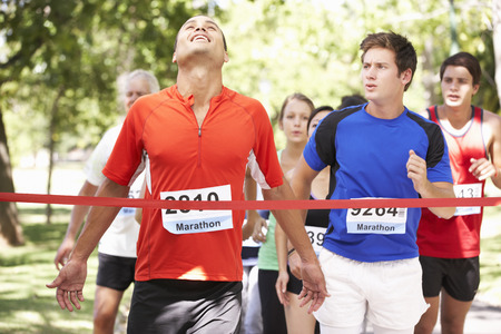 horizontal line: Male Athlete Winning Marathon Race