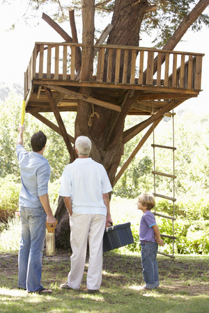grandad: Grandfather, Father And Son Building Tree House Together