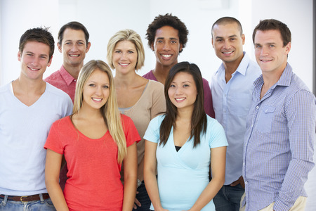 multiracial group: Group Of Happy And Positive Business People In Casual Dress