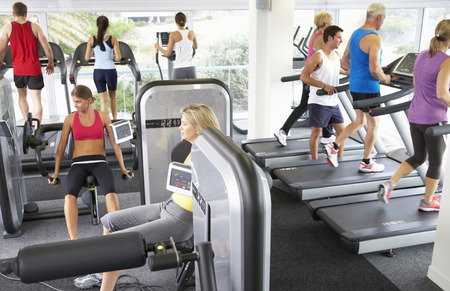 Exercising: Elevated View Of Busy Gym With People Exercising On Machines
