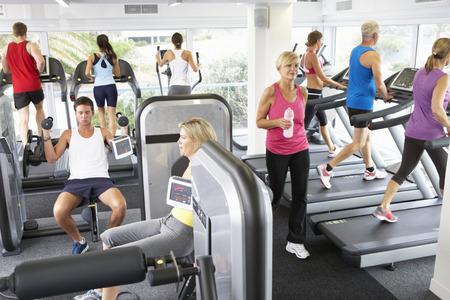 hombres haciendo ejercicio: Vista elevada de gimnasia llena de gente que ejercita en m�quinas