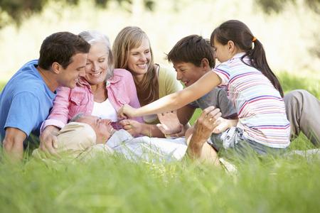 three generation: Three Generation Family Relaxing In Summer Field