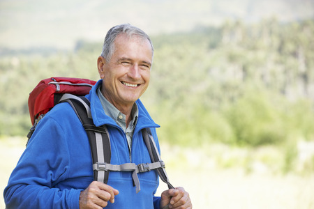 fleece: Portrait Of Senior Man On Hike Stock Photo