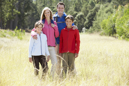 11 year old girl: Portrait Of Family On Hike In Beautiful Countryside