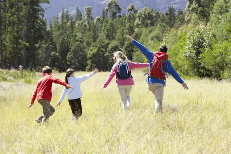 美しい田園地帯でのハイキングに家族
