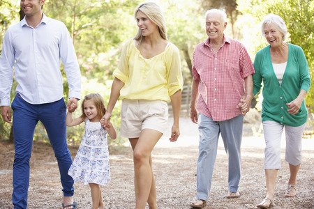 three generation: Three Generation Family On Country Walk Together