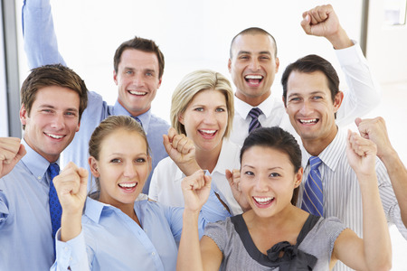 asian office lady: Elevated View Of Happy And Positive Business People Stock Photo