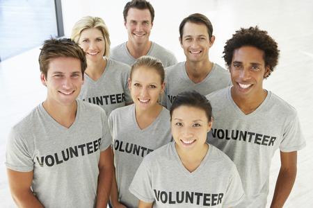 자원 봉사 그룹의 초상화 스톡 콘텐츠