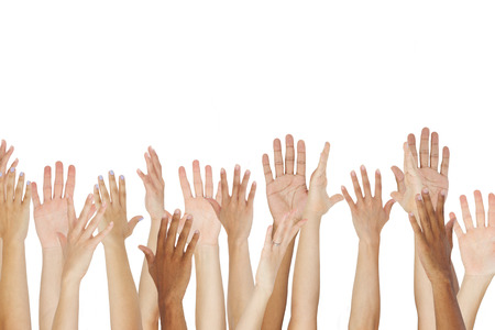 thirties: Close Up Of A Group Raising Their Hands Stock Photo