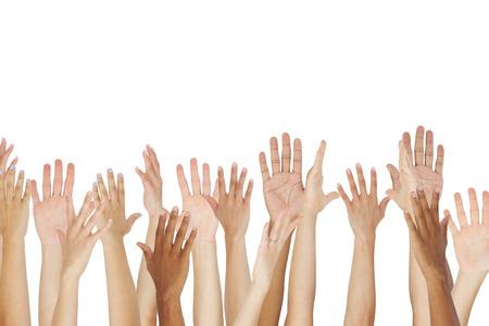 Gros plan d'un groupe élever leurs mains Banque d'images - 42253288
