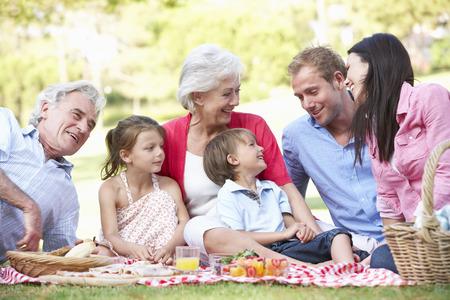 dama antigua: Multi generacional disfrutan de comida campestre Juntos