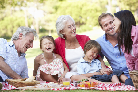 Famille multi-générations Bénéficiant de pique-nique Ensemble Banque d'images