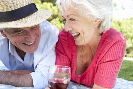 red hat: Senior Couple Enjoying Picnic Together Stock Photo