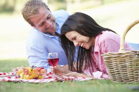 mid adult couple: Couple Enjoying Picnic Together Stock Photo