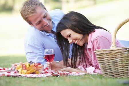 picnic blanket: Couple Enjoying Picnic Together Stock Photo