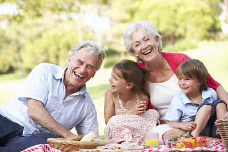 Grootouders en kleinkinderen genieten Picnic Together Stockfoto