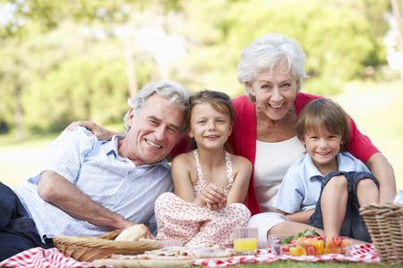 조부모와 함께 피크닉을 즐기는 손자