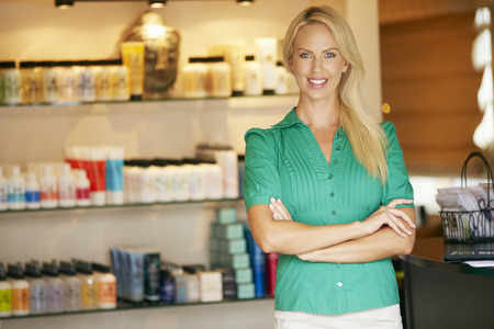 the caucasian beauty: Portrait Beauty Product Shop Manager