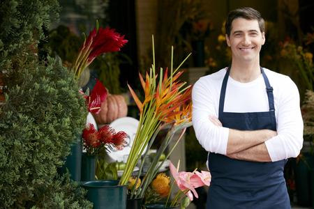 店の外の男性の花屋の肖像画