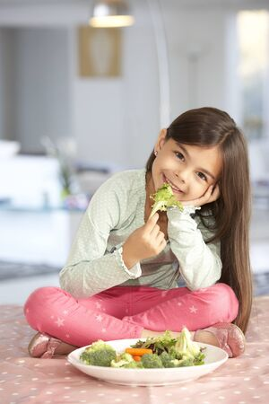 5 year old girl: Happy Young Girl With Plate Of Fresh Vegetables