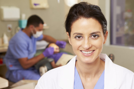 dental nurse: Portrait Of Dental Nurse In Dentists Surgery