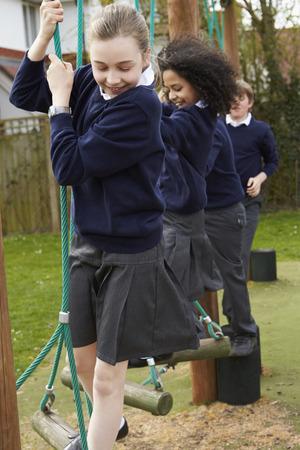 11 year old: Elementary School Pupils On Climbing Equipment