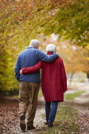 caminando: Vista posterior de los pares mayores que recorren a lo largo de la trayectoria del otoño Foto de archivo