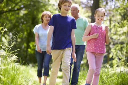 grandparents: Grandparents With Grandchildren Walking Through Countryside