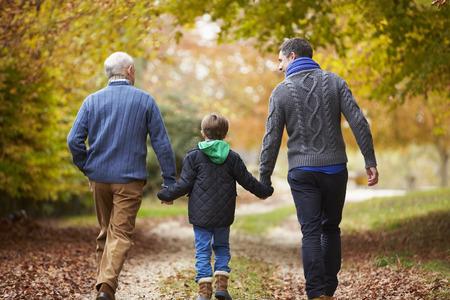 внук: Вид сзади мужчина Multl поколения семьи, идя по пути Фото со стока