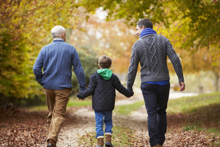 grandfather and grandson: Rear View Of Male Multl Generation Family Walking On Path Stock Photo