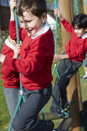 school year: Elementary School Pupils On Climbing Equipment