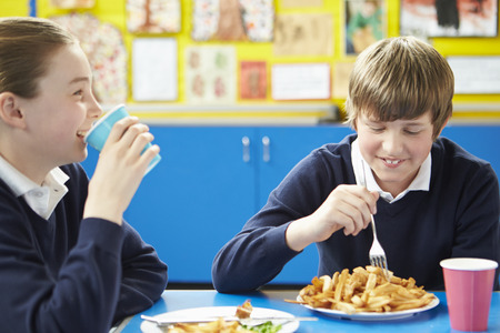 the pupil: Male Pupil Eating Unhealthy School Lunch