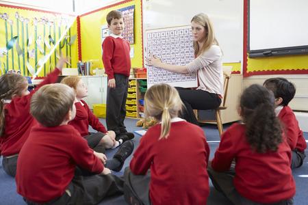 primary: Teacher Teaching Maths To Elementary School Pupils