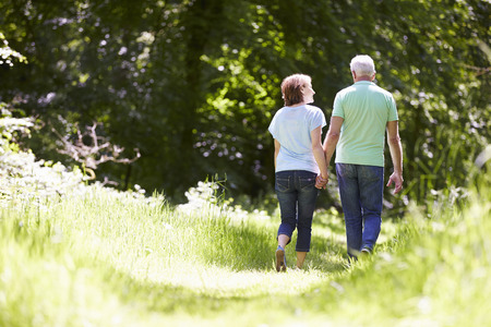 senior men: Rear View Of Senior Couple Walking In Summer Countryside Stock Photo
