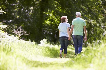 caminando: Vista posterior del hombre de Pareja Caminar en campo del verano