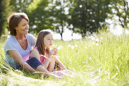 grandmother grandchild: Grandmother And Granddaughter Sitting In Summer Field