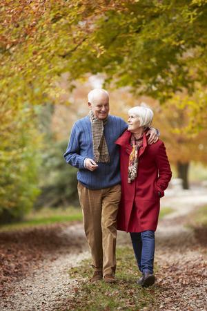 ancianos caminando: Pares mayores que recorren lo largo de ruta de otoño Foto de archivo