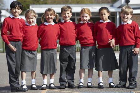 school playground: Portrait Of Elementary School Pupils In Playground