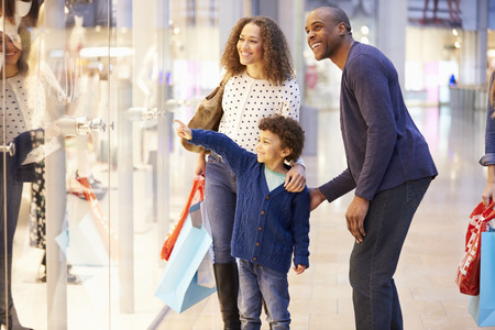 window shopper: Child On Trip To Shopping Mall With Parents
